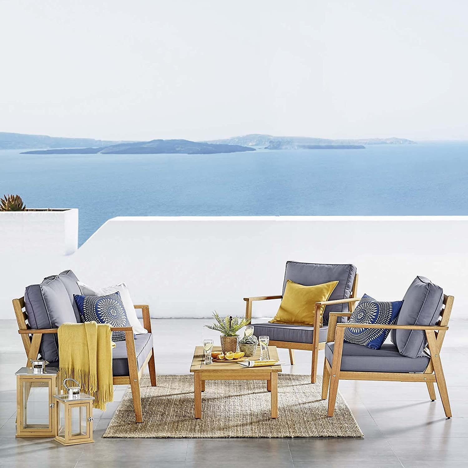 4-Piece Outdoor Patio Set In Natural Gray Wood - image-3