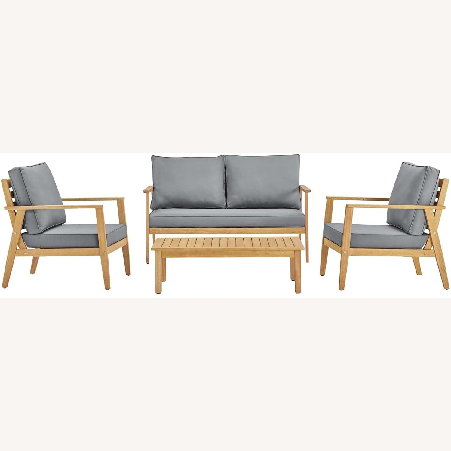 4-Piece Outdoor Patio Set In Natural Gray Wood - image-0