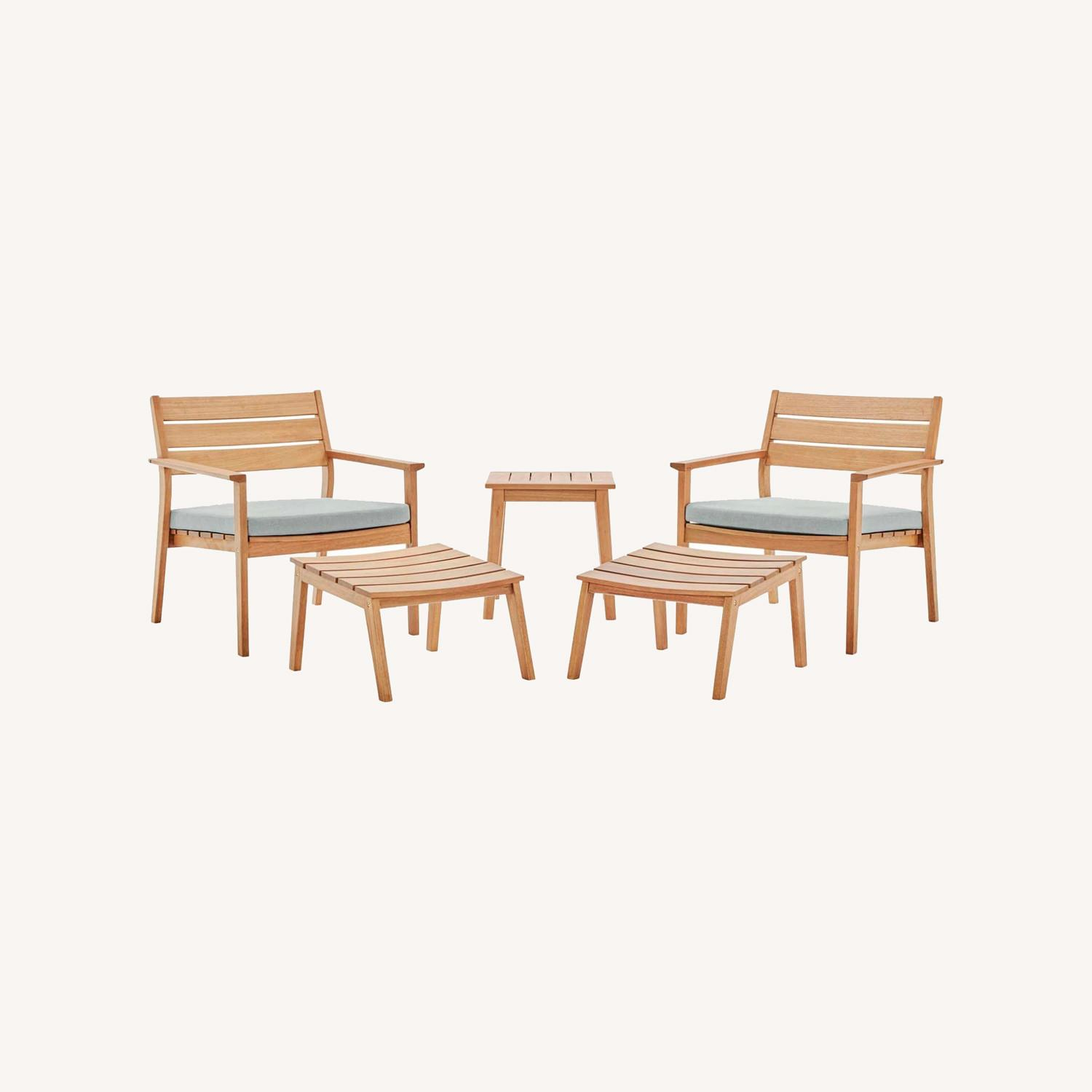 5-Piece Outdoor Patio Set In Ash Wood Finish - image-7
