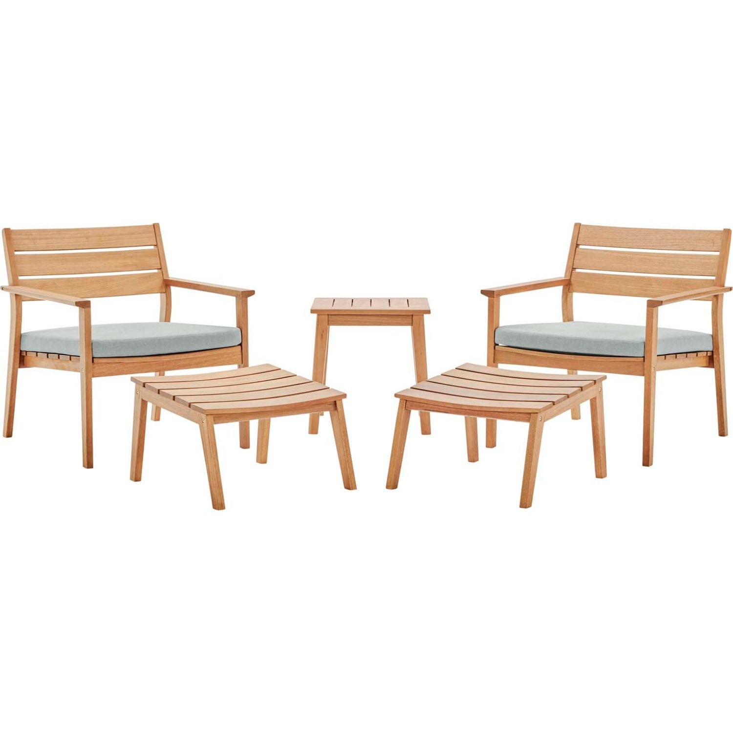 5-Piece Outdoor Patio Set In Ash Wood Finish - image-0