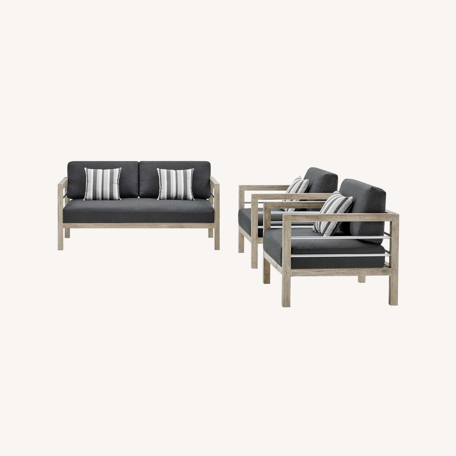 3-Piece Outdoor Patio Set In Light Gray Finish - image-8