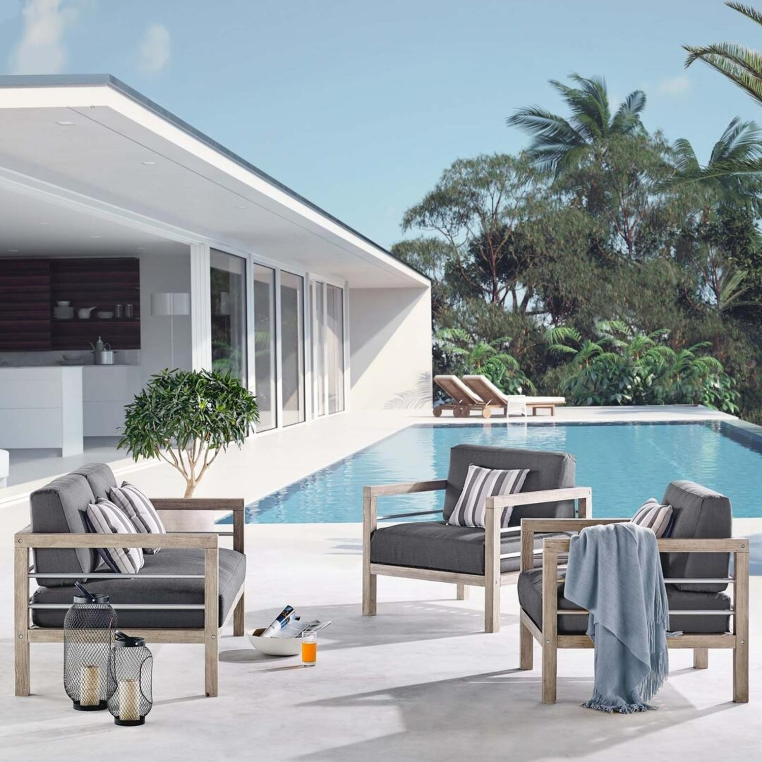 3-Piece Outdoor Patio Set In Light Gray Finish - image-7