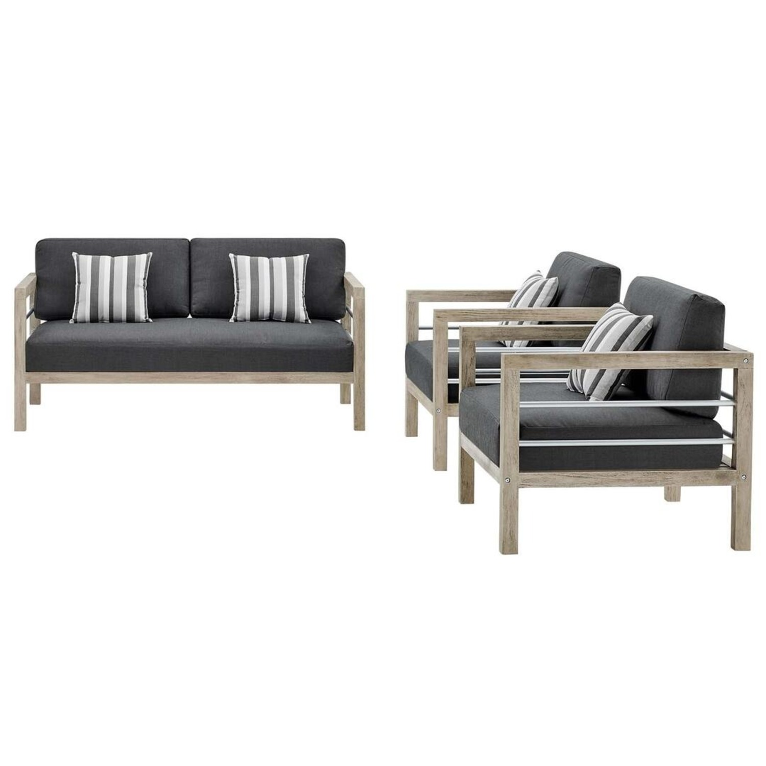 3-Piece Outdoor Patio Set In Light Gray Finish - image-0
