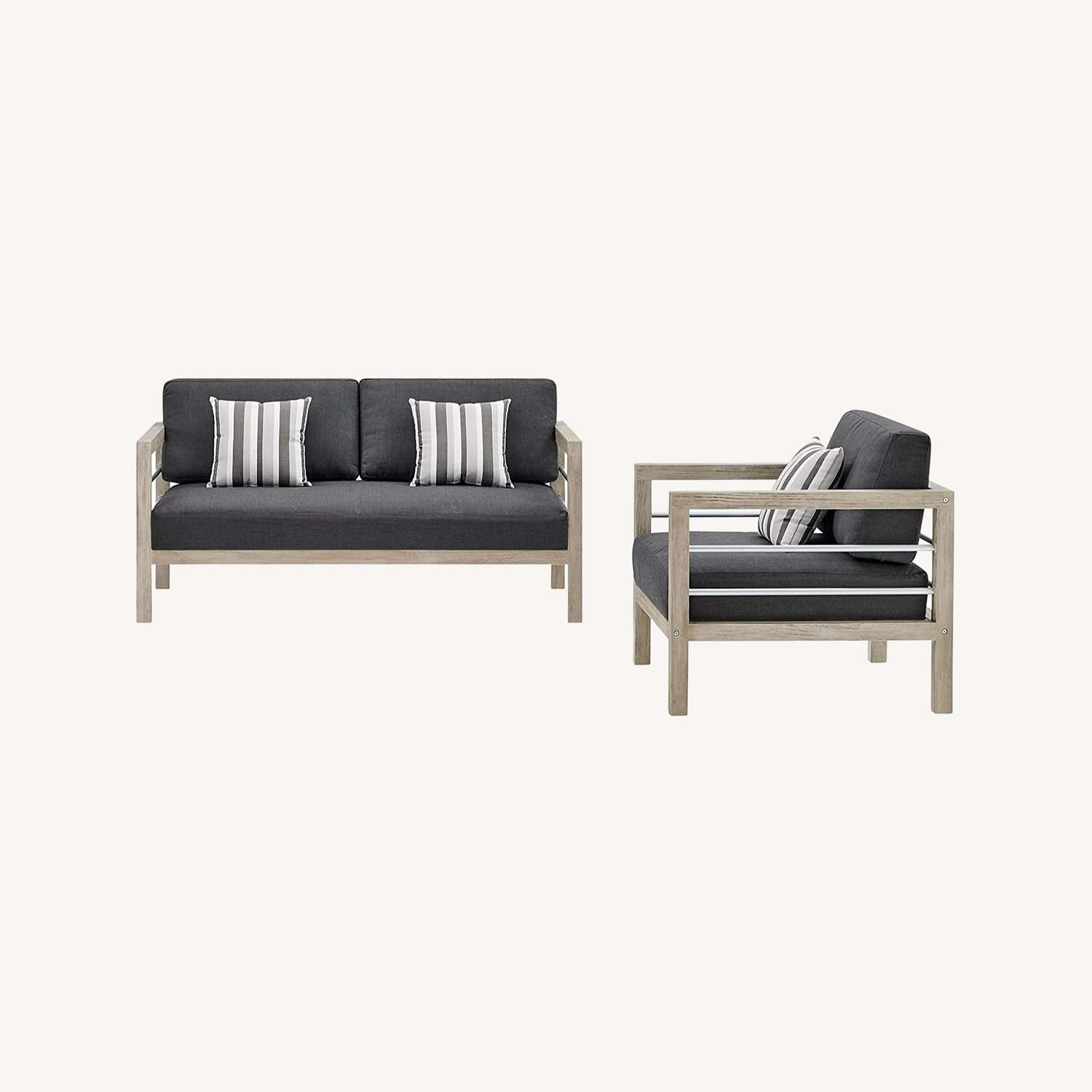 Outdoor Patio Set In Light Gray Wood Finish - image-12