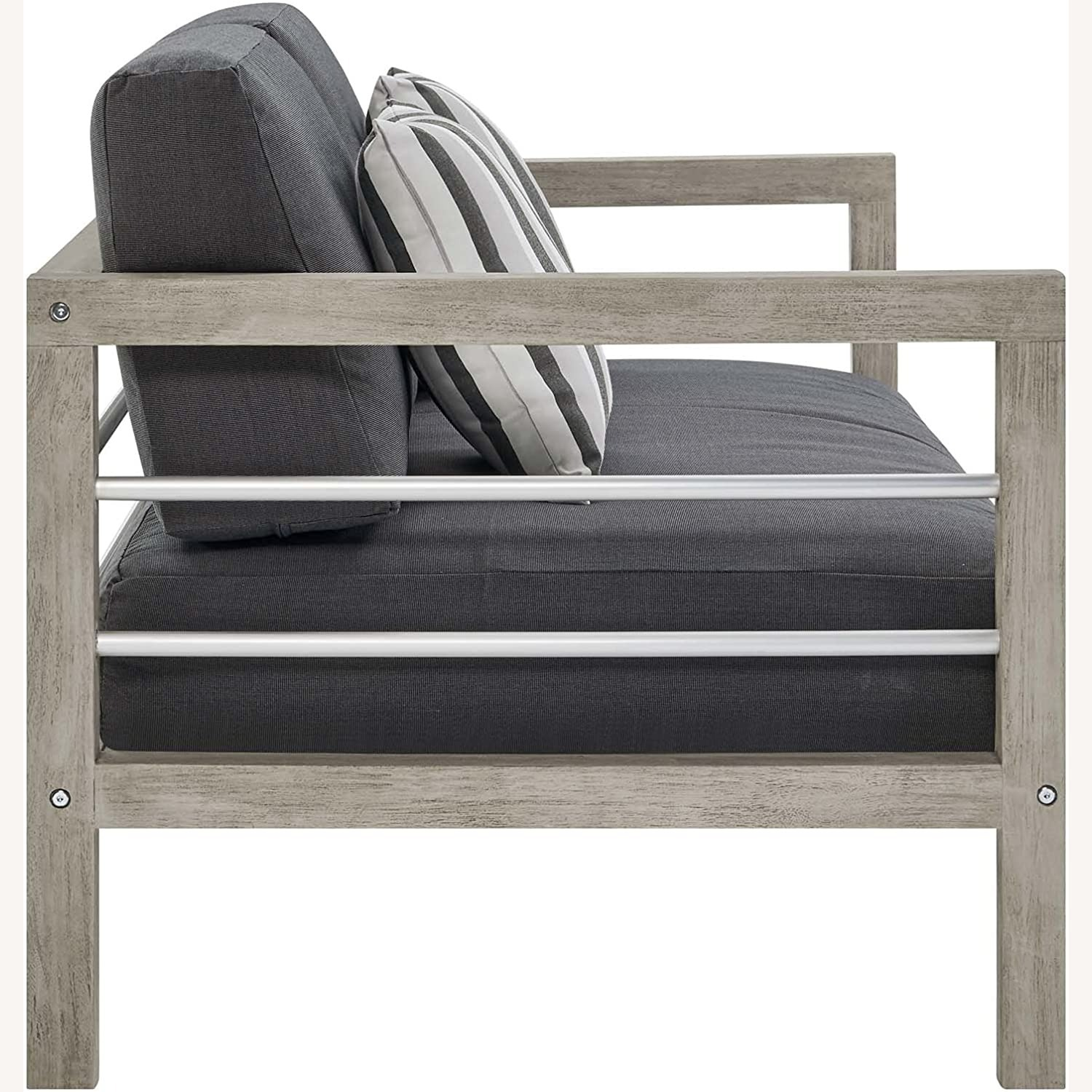 Outdoor Patio Set In Light Gray Wood Finish - image-4