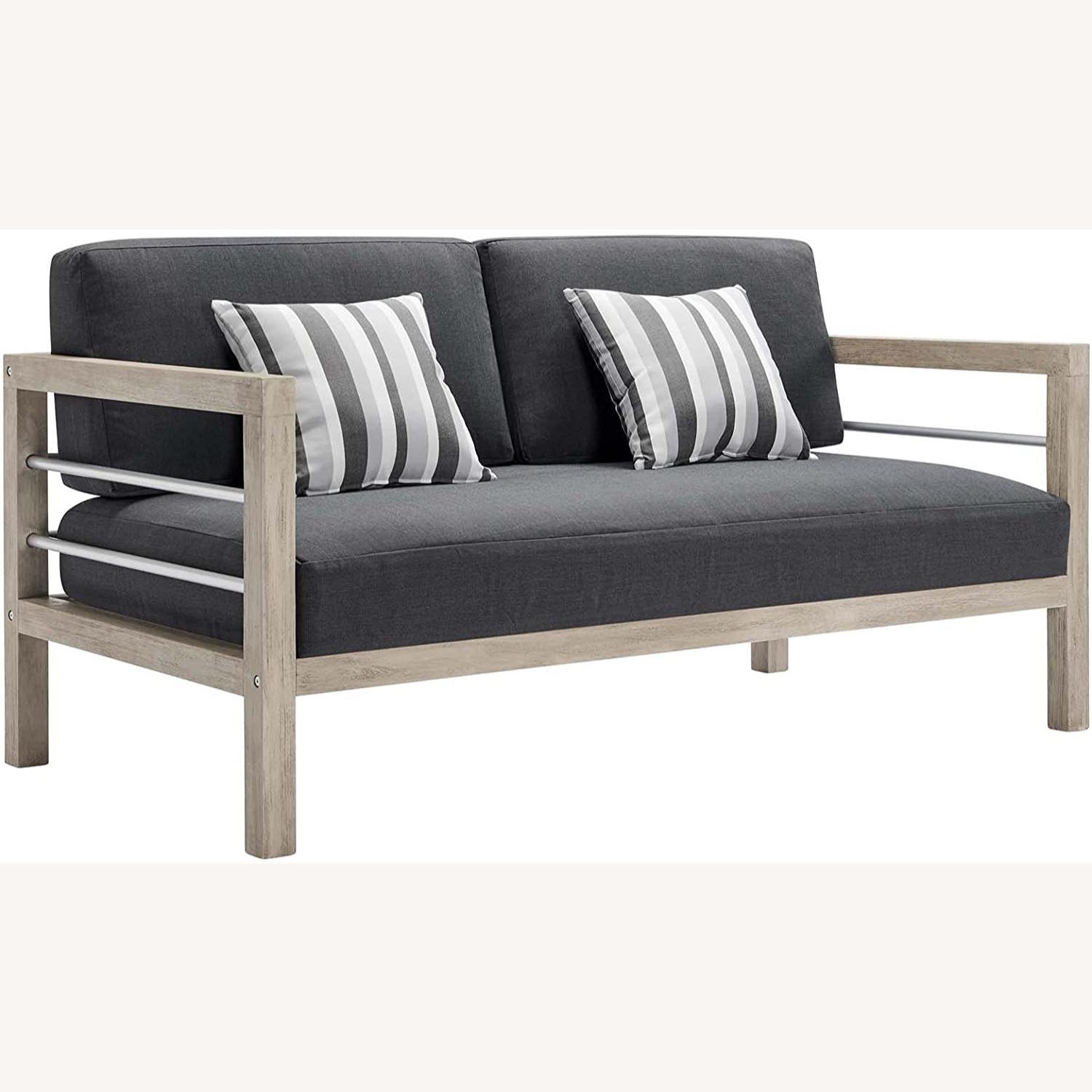 Outdoor Patio Set In Light Gray Wood Finish - image-1