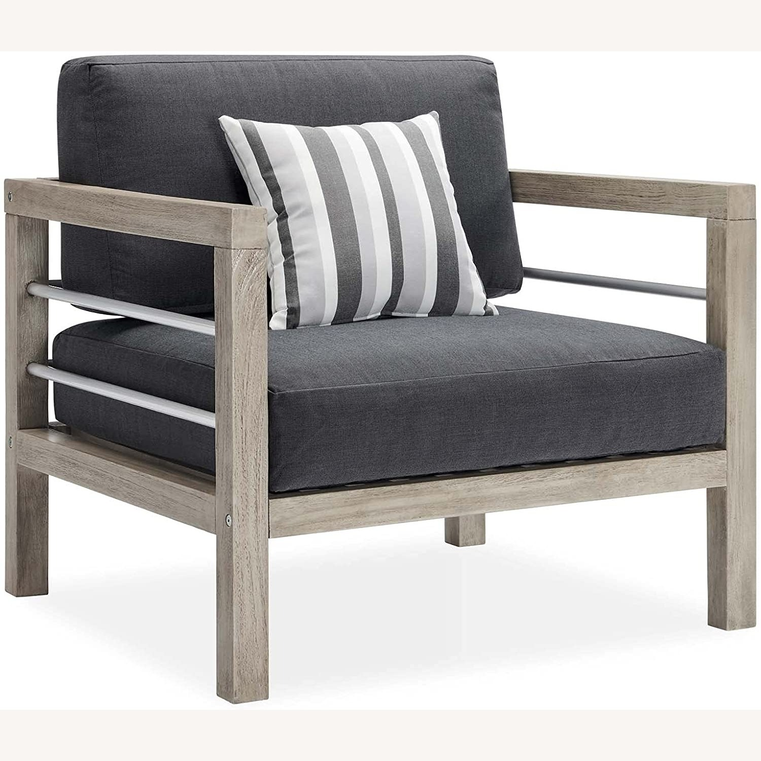 Outdoor Patio Set In Light Gray Wood Finish - image-5