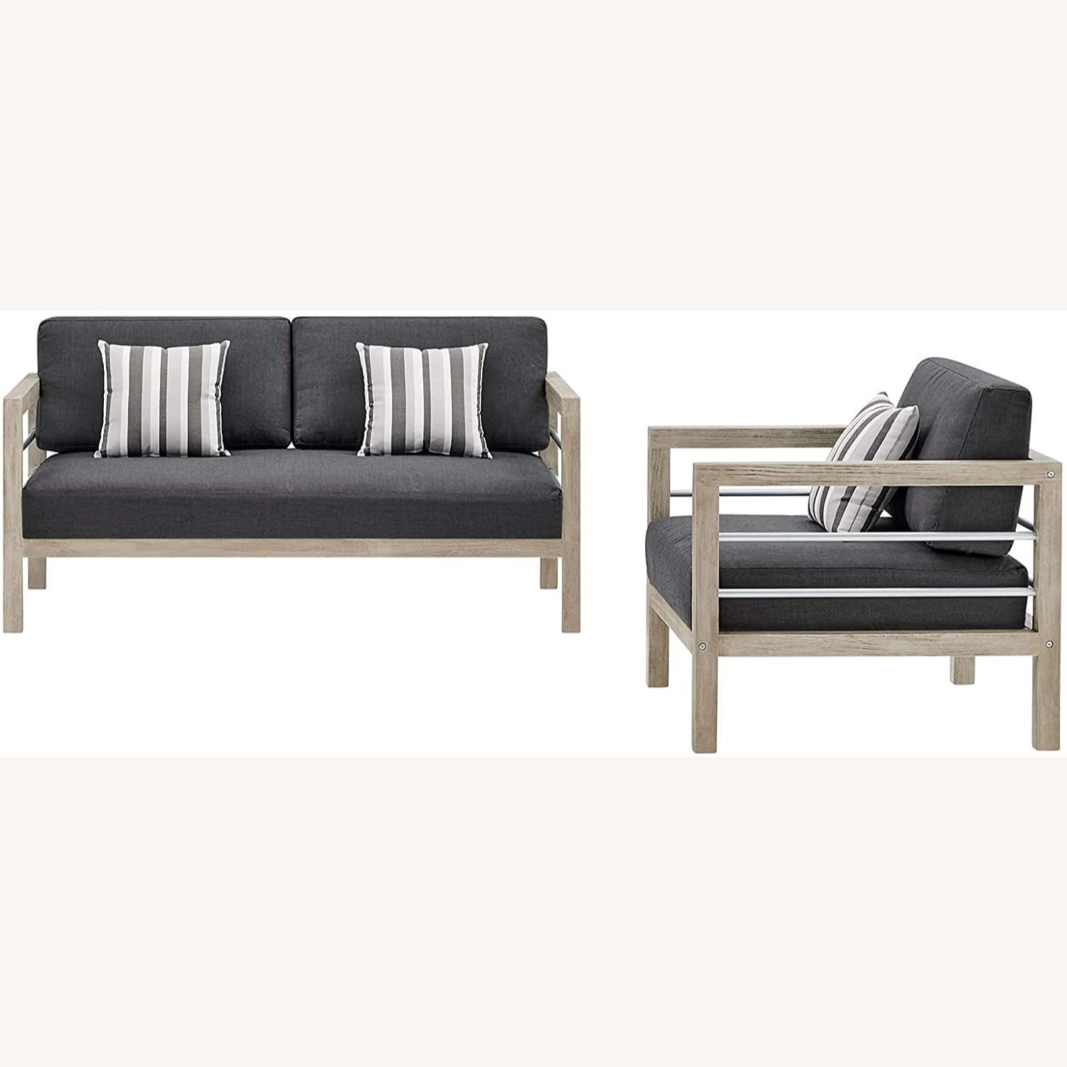 Outdoor Patio Set In Light Gray Wood Finish - image-0