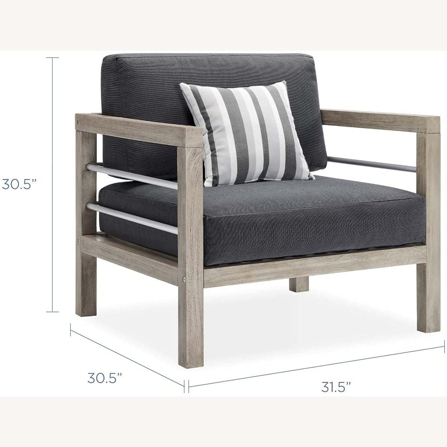 Outdoor Patio Set In Light Gray Wood Finish - image-6