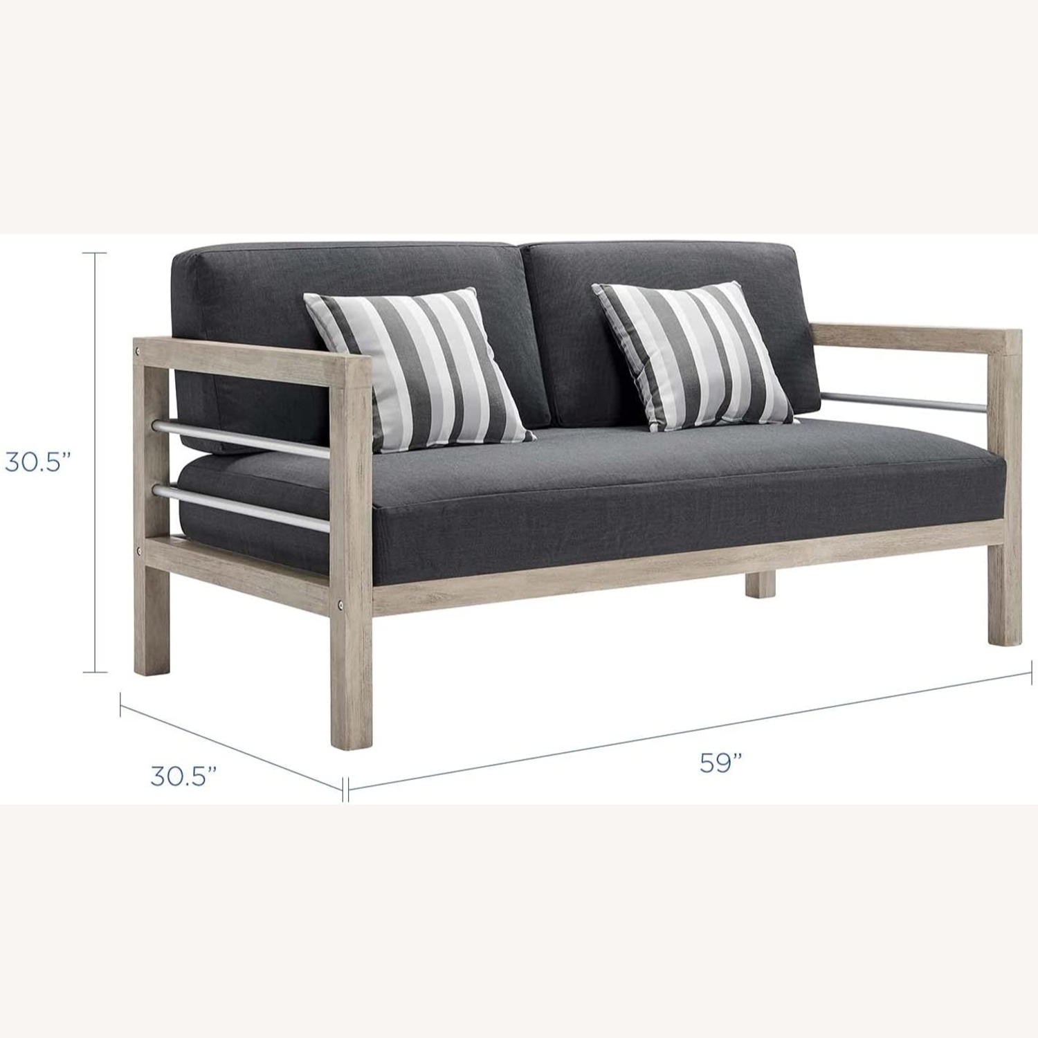 Outdoor Patio Set In Light Gray Wood Finish - image-2