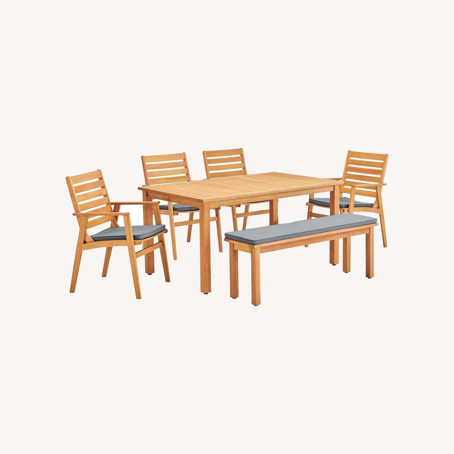 6-Piece Outdoor Patio Set In Natural Gray Wood - image-8