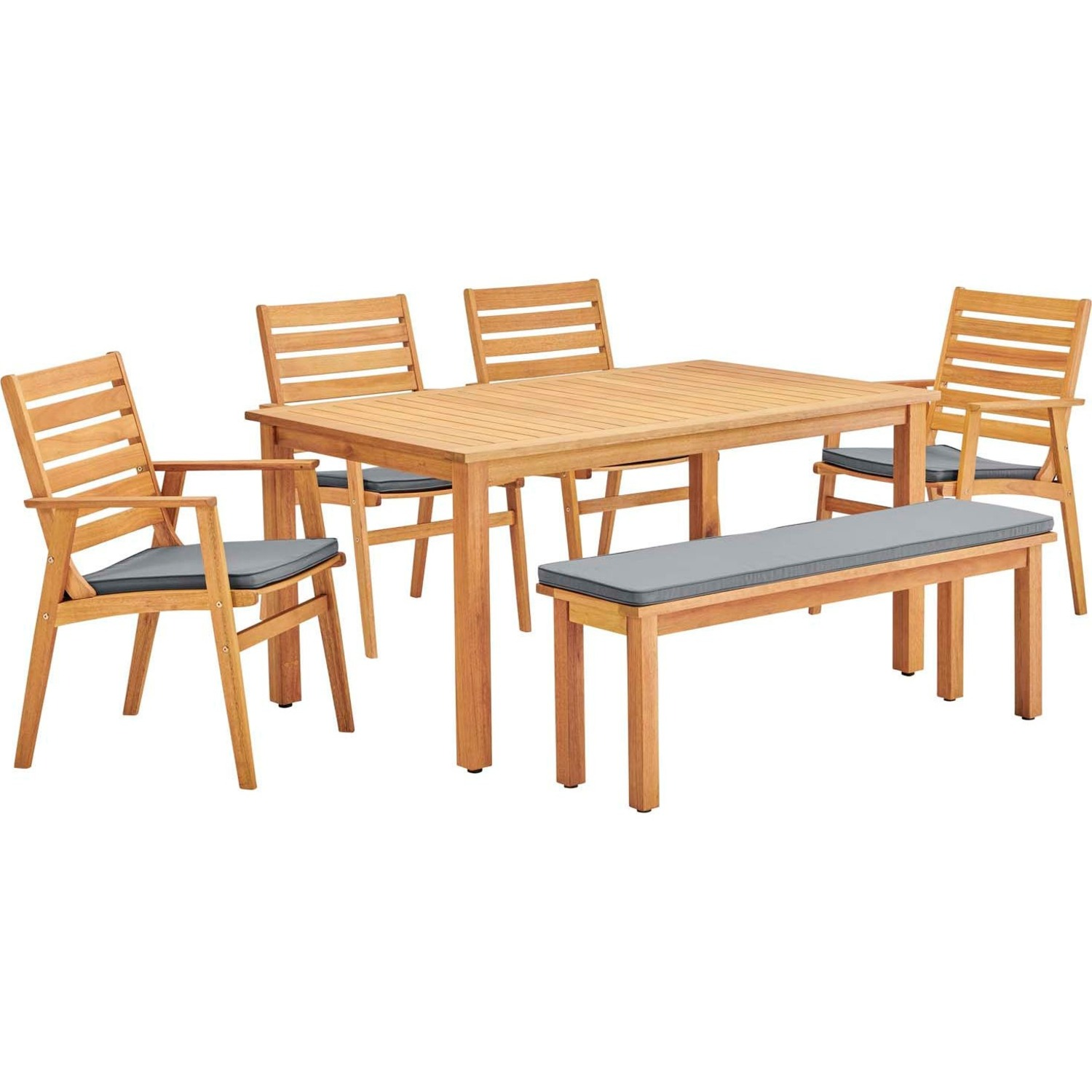 6-Piece Outdoor Patio Set In Natural Gray Wood - image-0