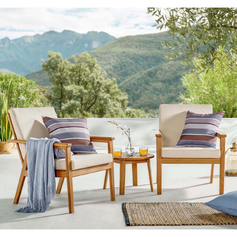 3-Piece Outdoor Patio Set In Ash Wood & Beige - image-6
