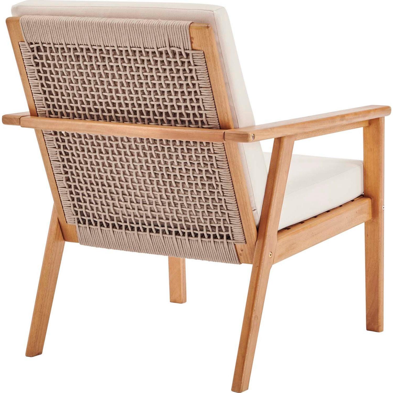 3-Piece Outdoor Patio Set In Ash Wood & Beige - image-2
