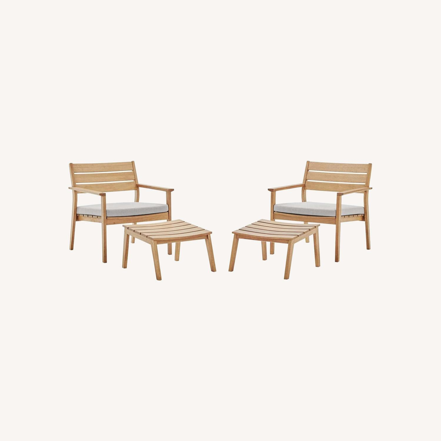 4-Piece Outdoor Patio Set In Natural Taupe Wood - image-10