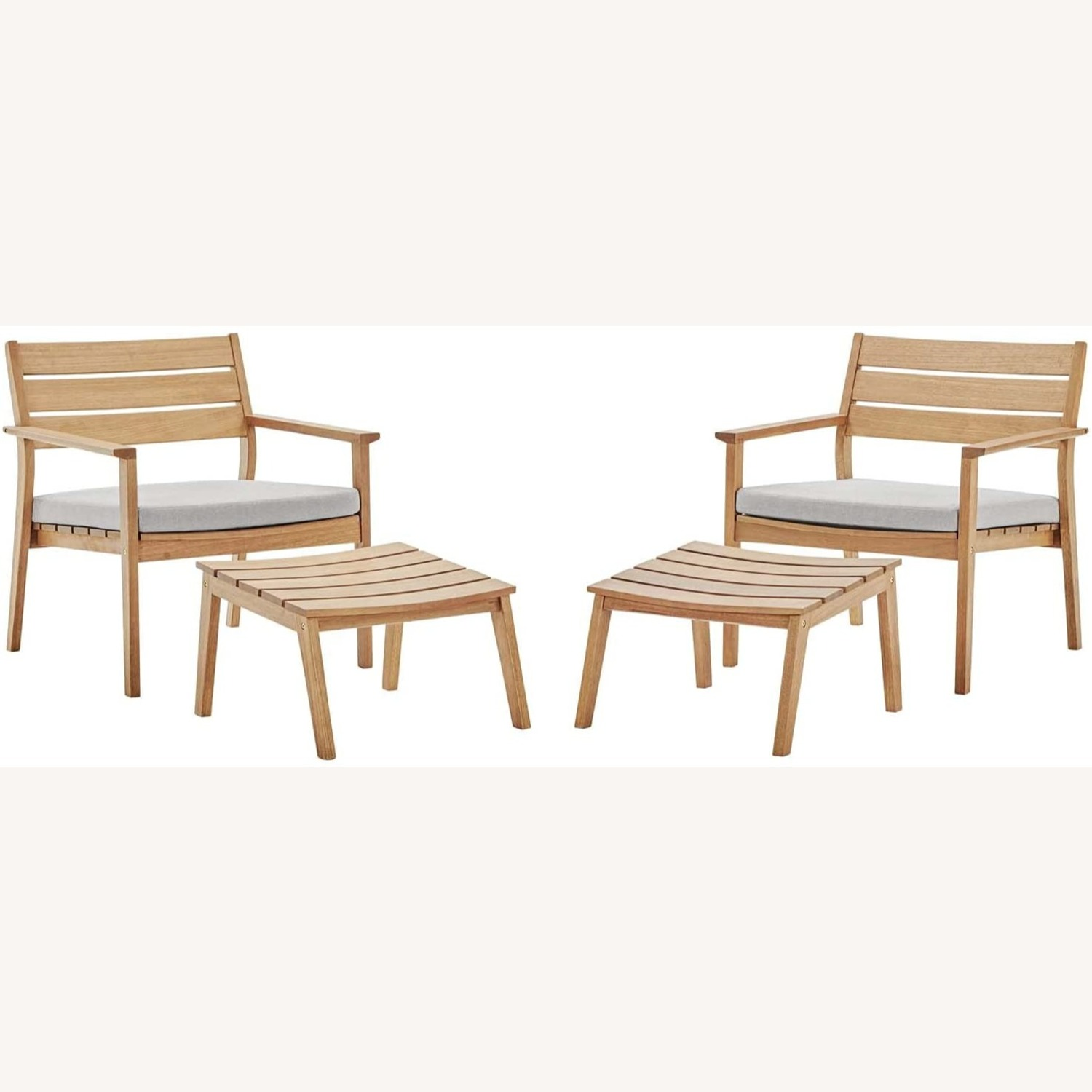 4-Piece Outdoor Patio Set In Natural Taupe Wood - image-0
