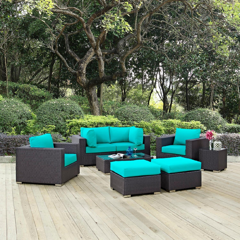 8-Piece Outdoor Patio Set In Espresso Turquoise - image-7