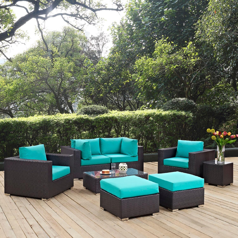 8-Piece Outdoor Patio Set In Espresso Turquoise - image-8