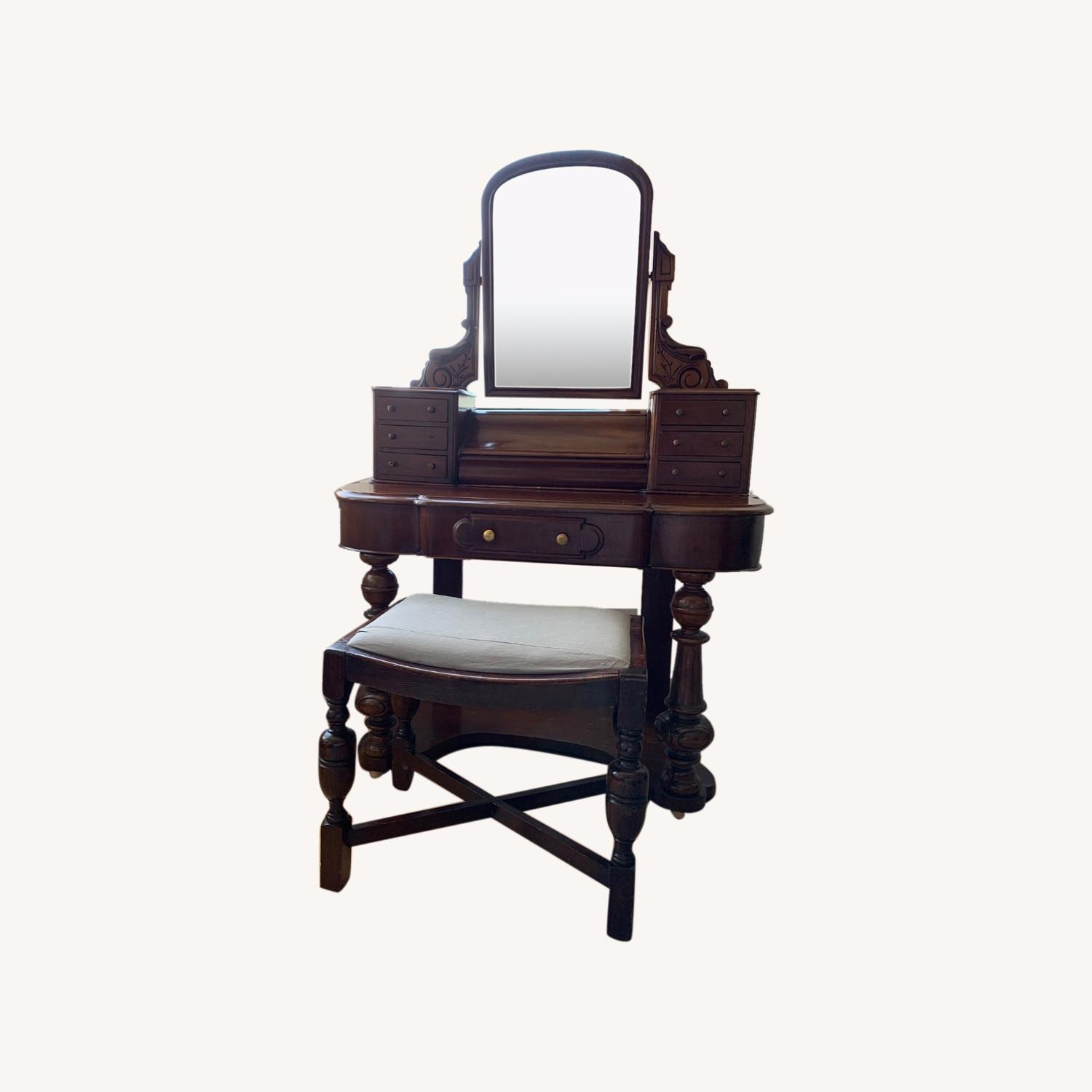 Victorian Antique Vanity Dressing Table and Stool - image-0