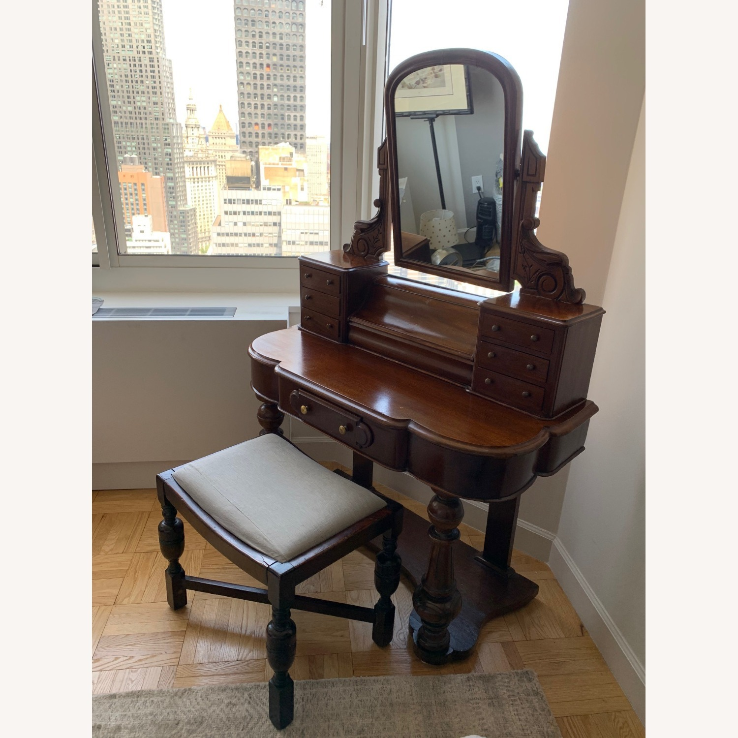 Victorian Antique Vanity Dressing Table and Stool - image-4