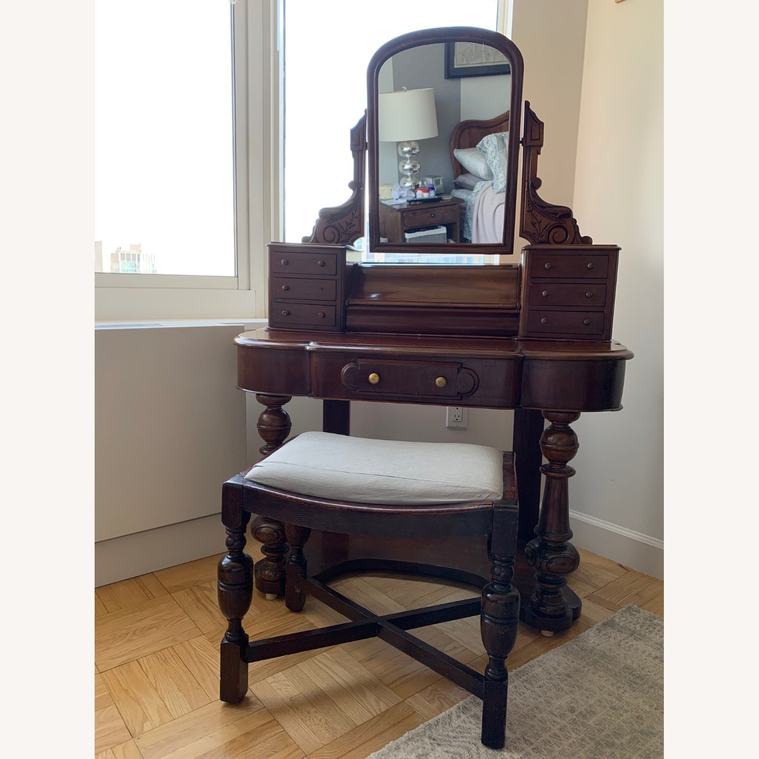 Victorian Antique Vanity Dressing Table and Stool - image-2