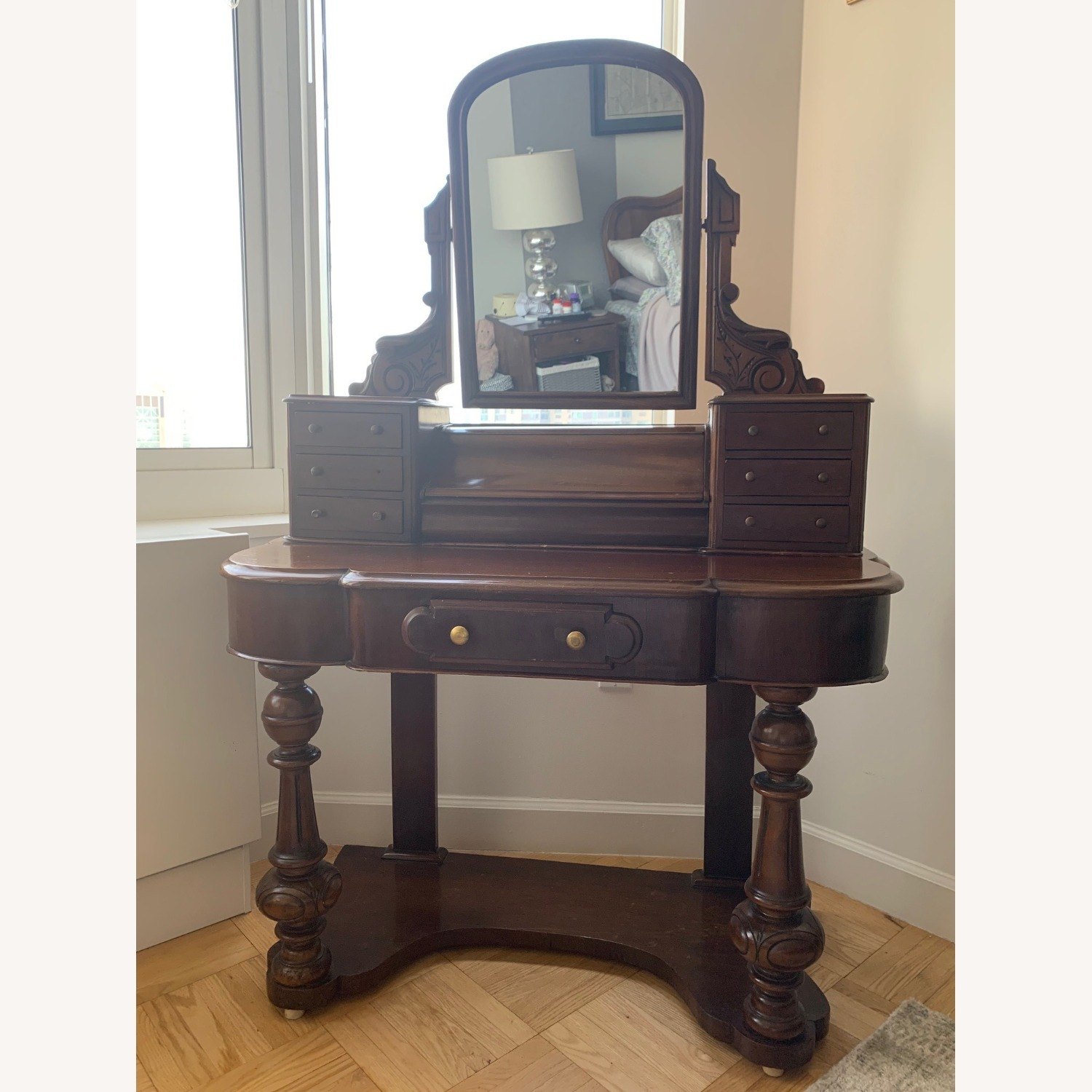 Victorian Antique Vanity Dressing Table and Stool - image-1