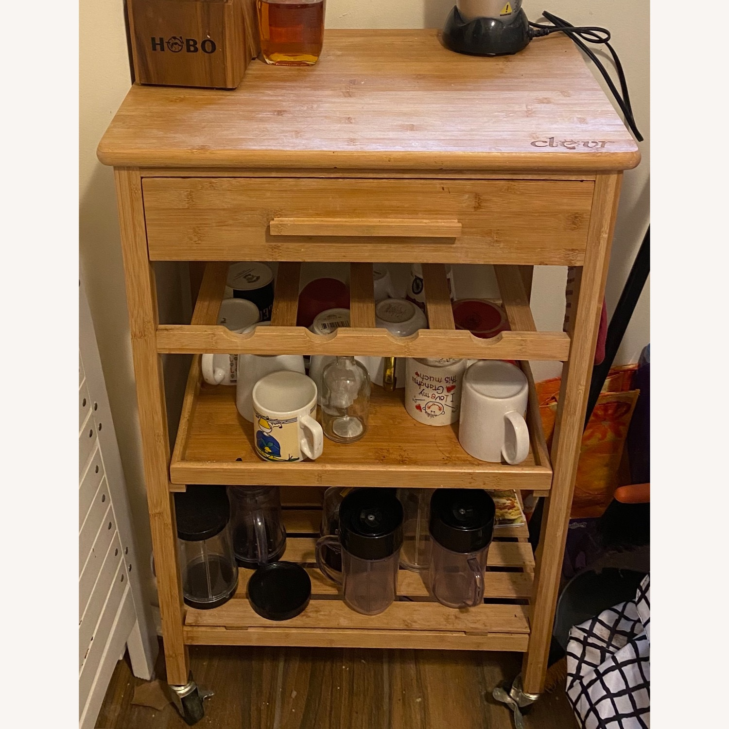 IKEA Clevr Rolling Bamboo Kitchen Bar Cart - image-3