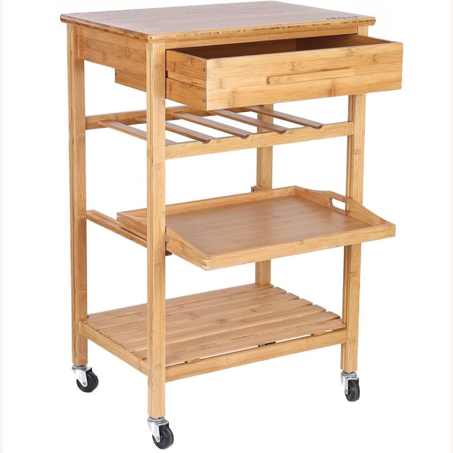 IKEA Clevr Rolling Bamboo Kitchen Bar Cart - image-1