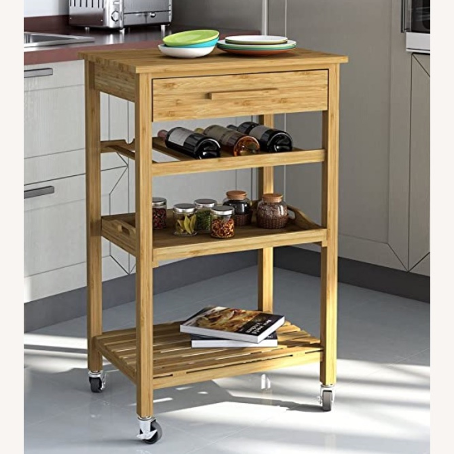 IKEA Clevr Rolling Bamboo Kitchen Bar Cart - image-2
