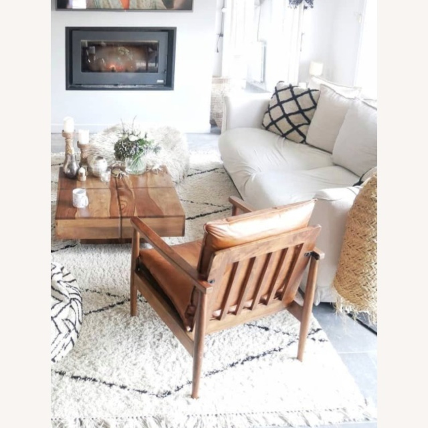 Mid Century Modern Brown Leather Accent Armchair - image-4