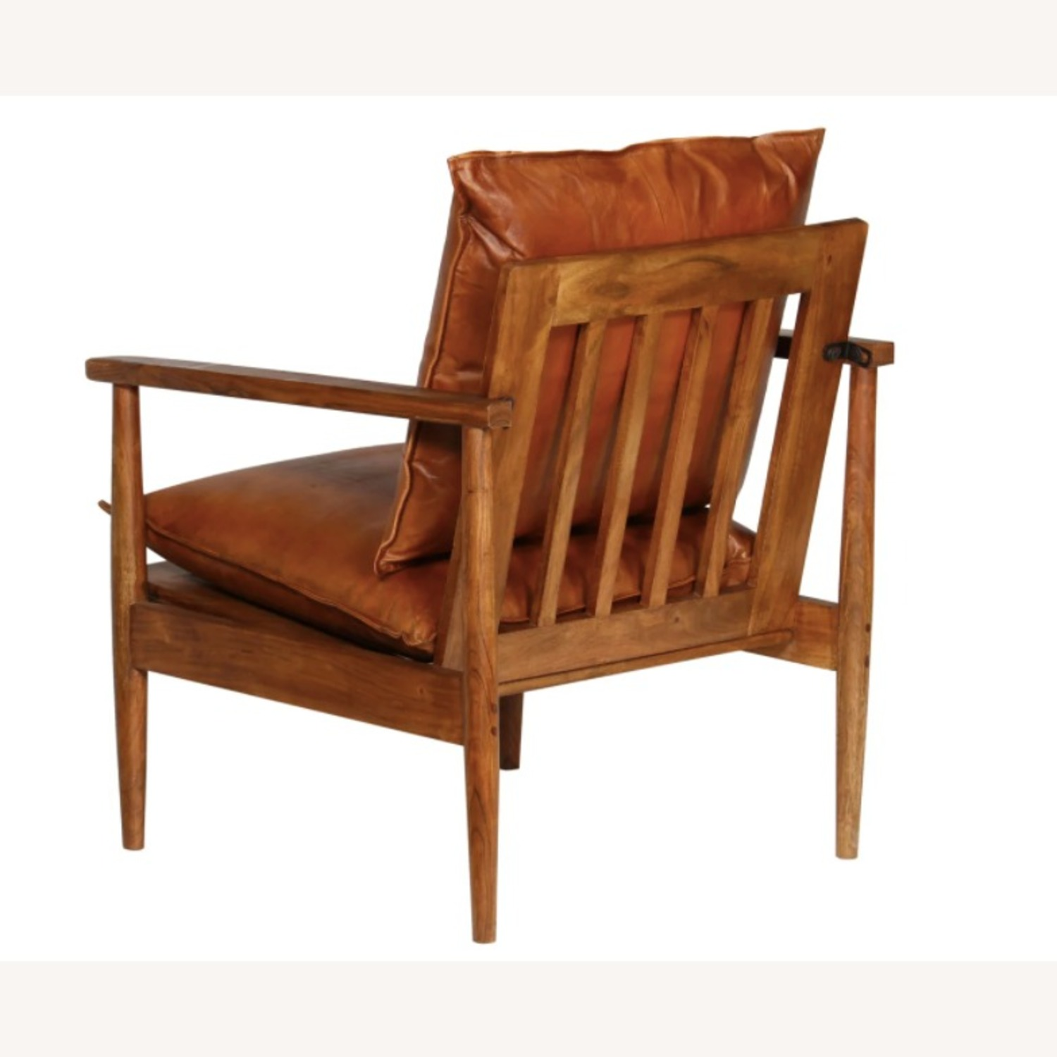 Mid Century Modern Brown Leather Accent Armchair - image-2