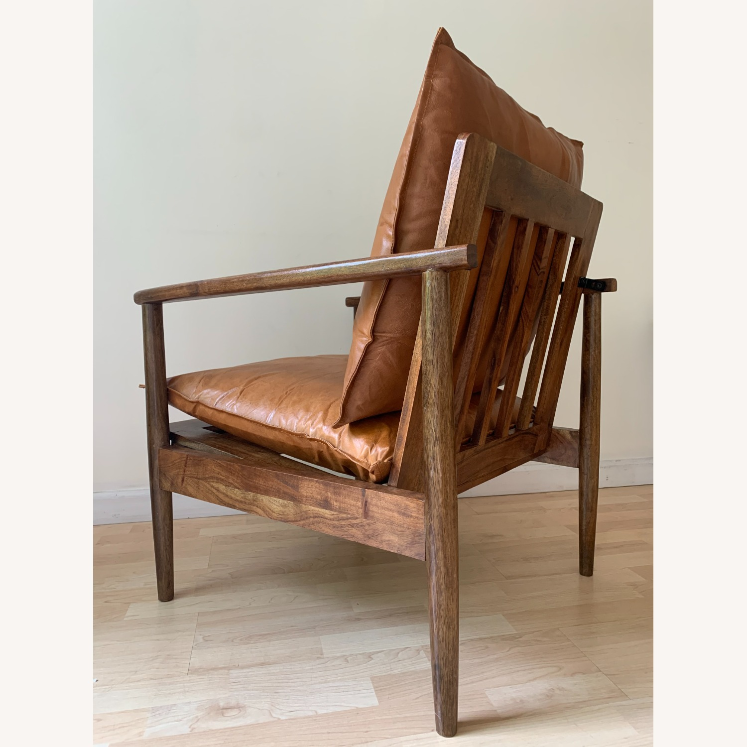 Mid Century Modern Brown Leather Accent Armchair - image-6