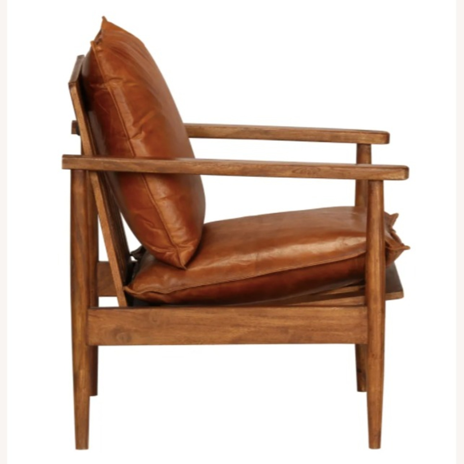 Mid Century Modern Brown Leather Accent Armchair - image-1