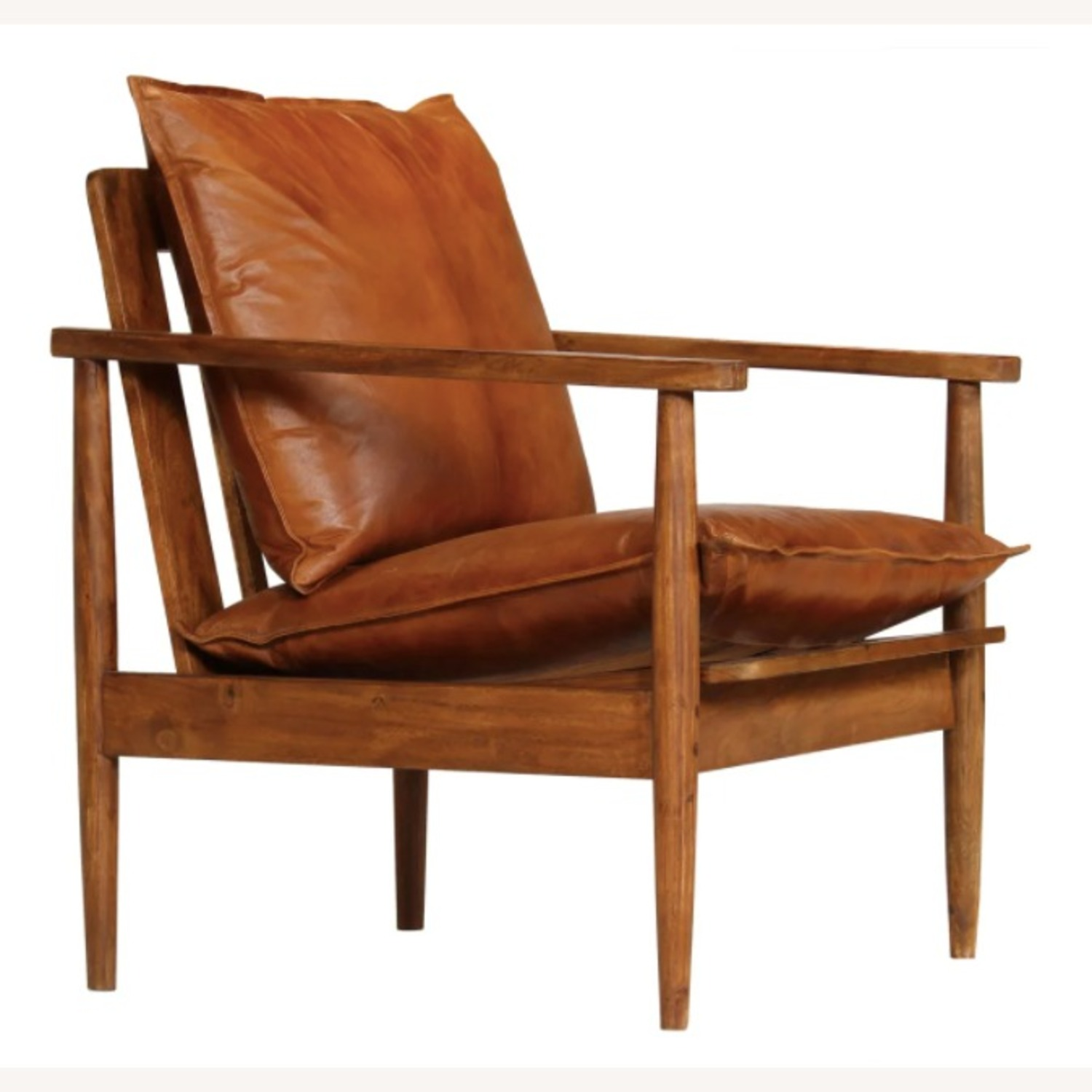 Mid Century Modern Brown Leather Accent Armchair - image-0