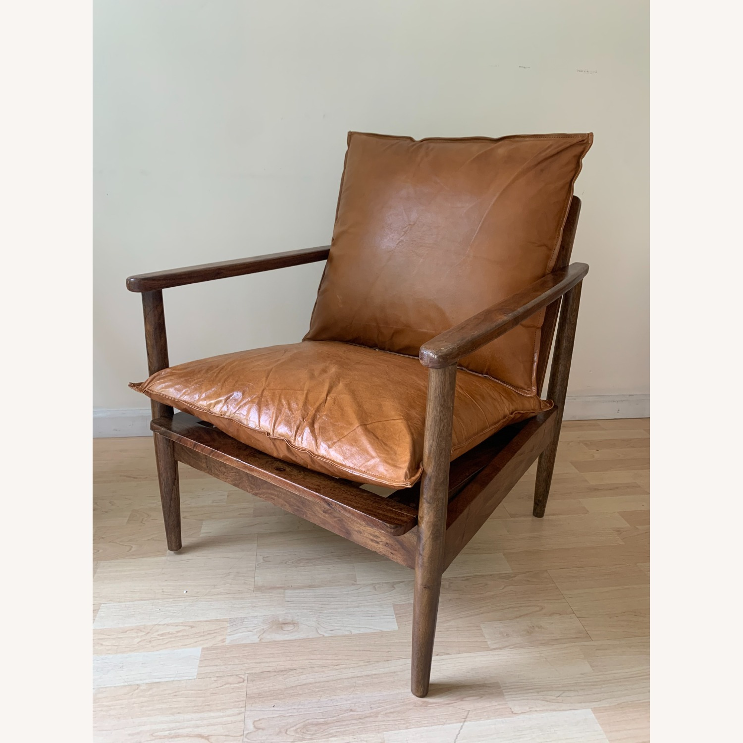 Mid Century Modern Brown Leather Accent Armchair - image-5