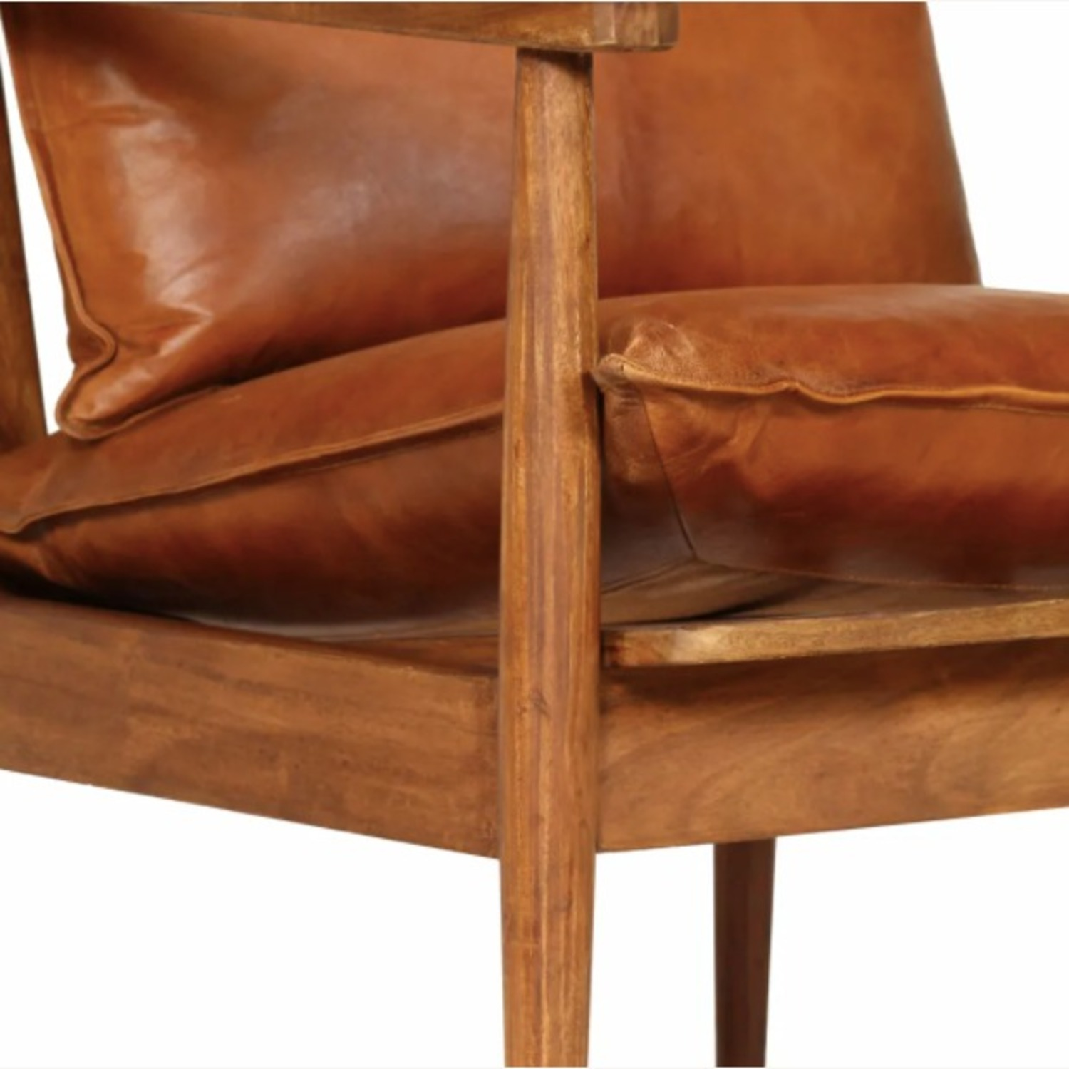 Mid Century Modern Brown Leather Accent Armchair - image-3