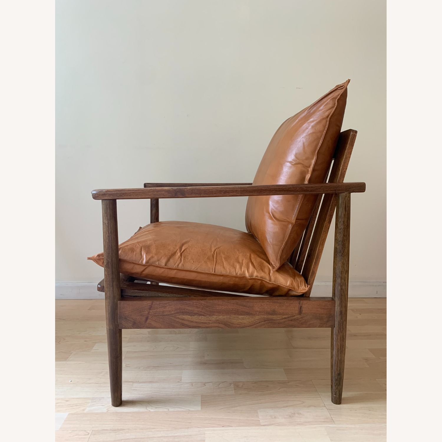 Mid Century Modern Brown Leather Accent Armchair - image-7