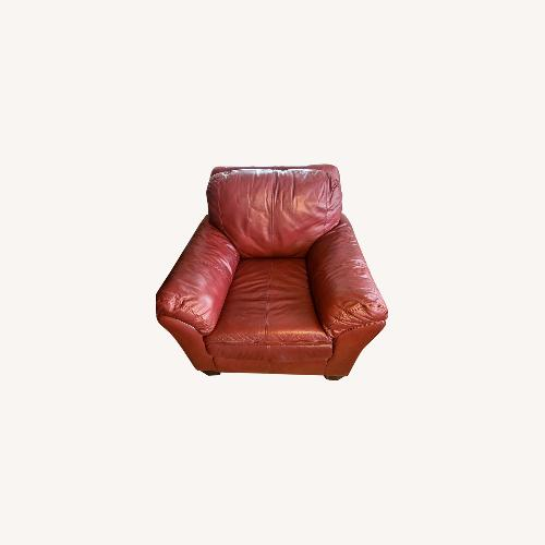 Used Ashley Furniture Red Leather Oversize Chair for sale on AptDeco