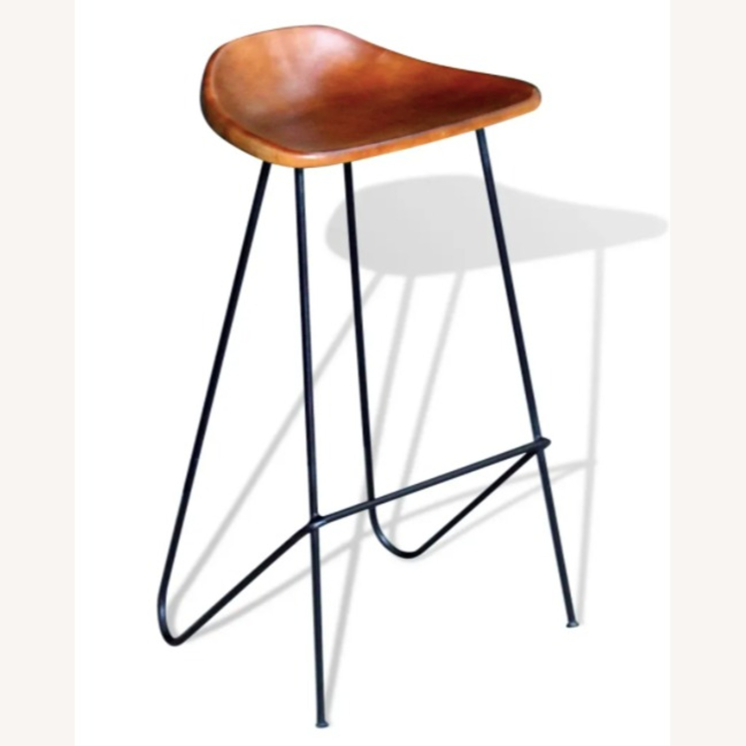 Mid Century Modern Set of 4 Brown Leather Stools - image-1