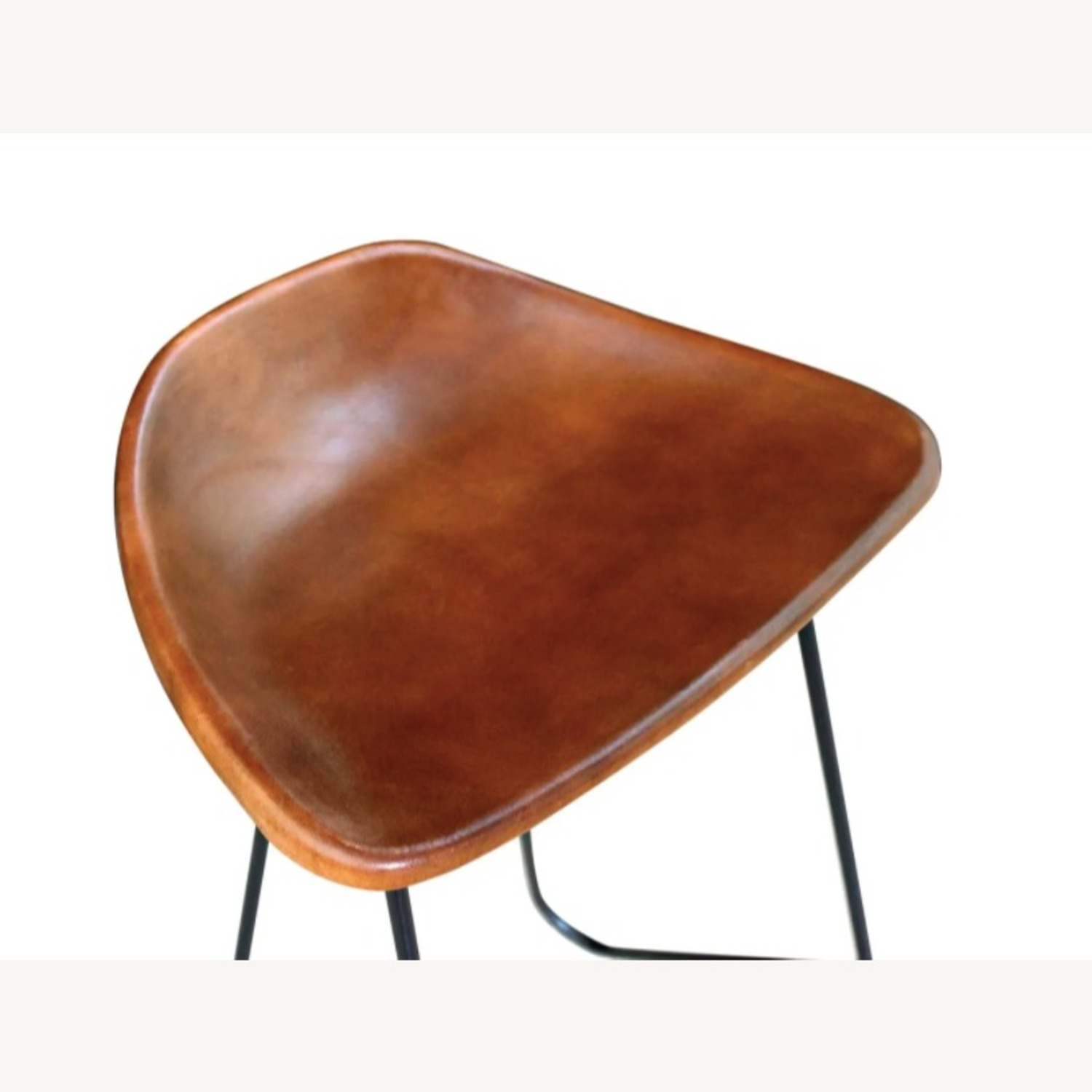 Mid Century Modern Set of 4 Brown Leather Stools - image-3