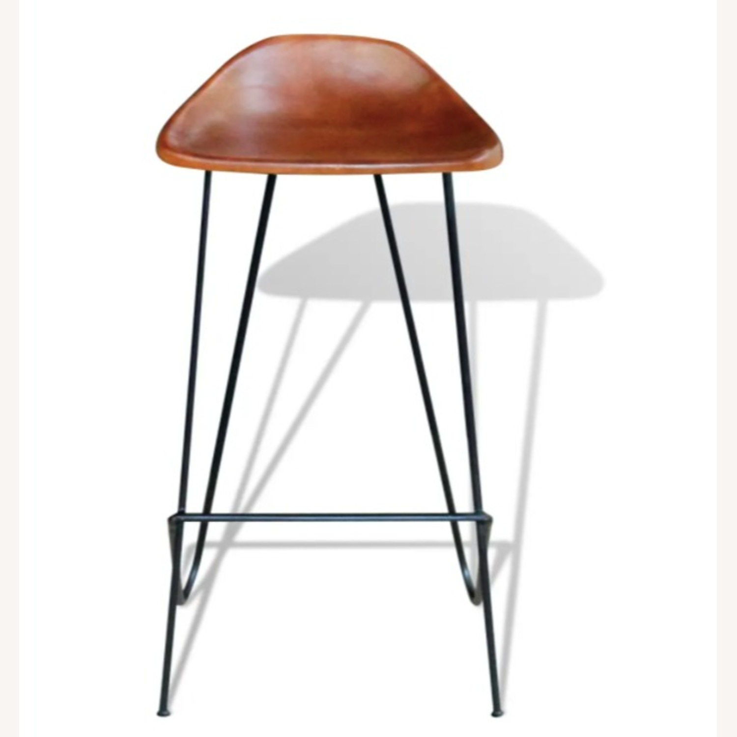 Mid Century Modern Set of 4 Brown Leather Stools - image-2