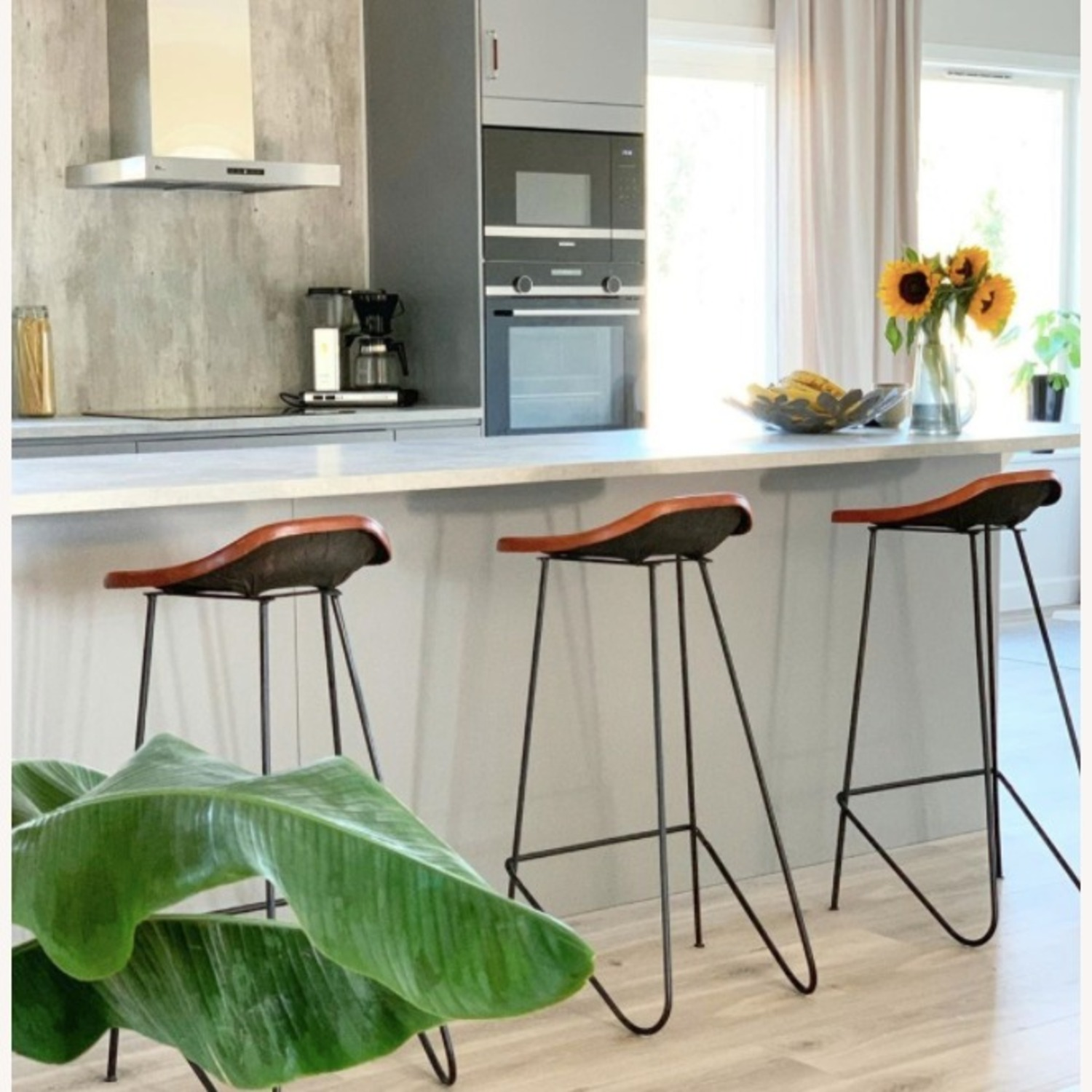 Mid Century Modern Set of 4 Brown Leather Stools - image-5