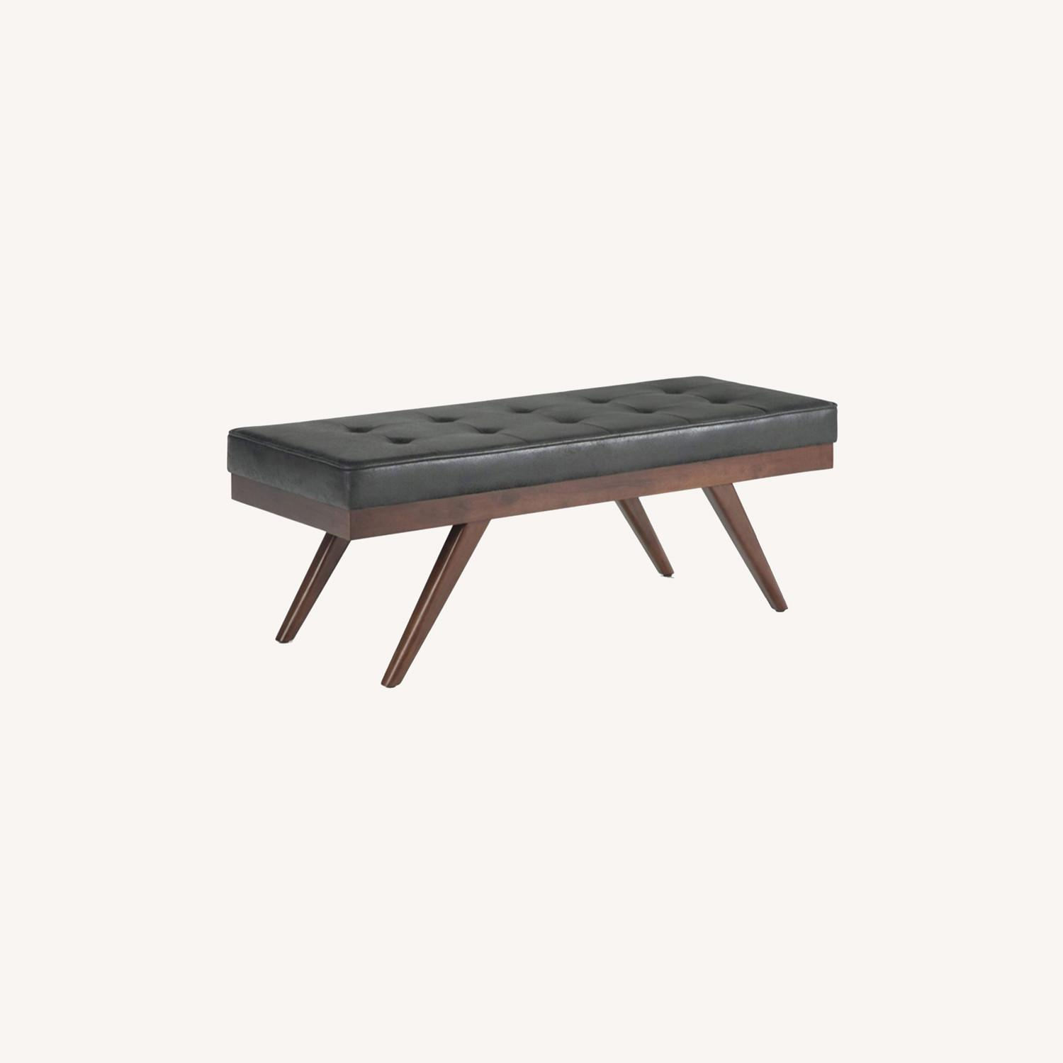 Mid Century Modern Faux Leather Ottoman Bench - image-0