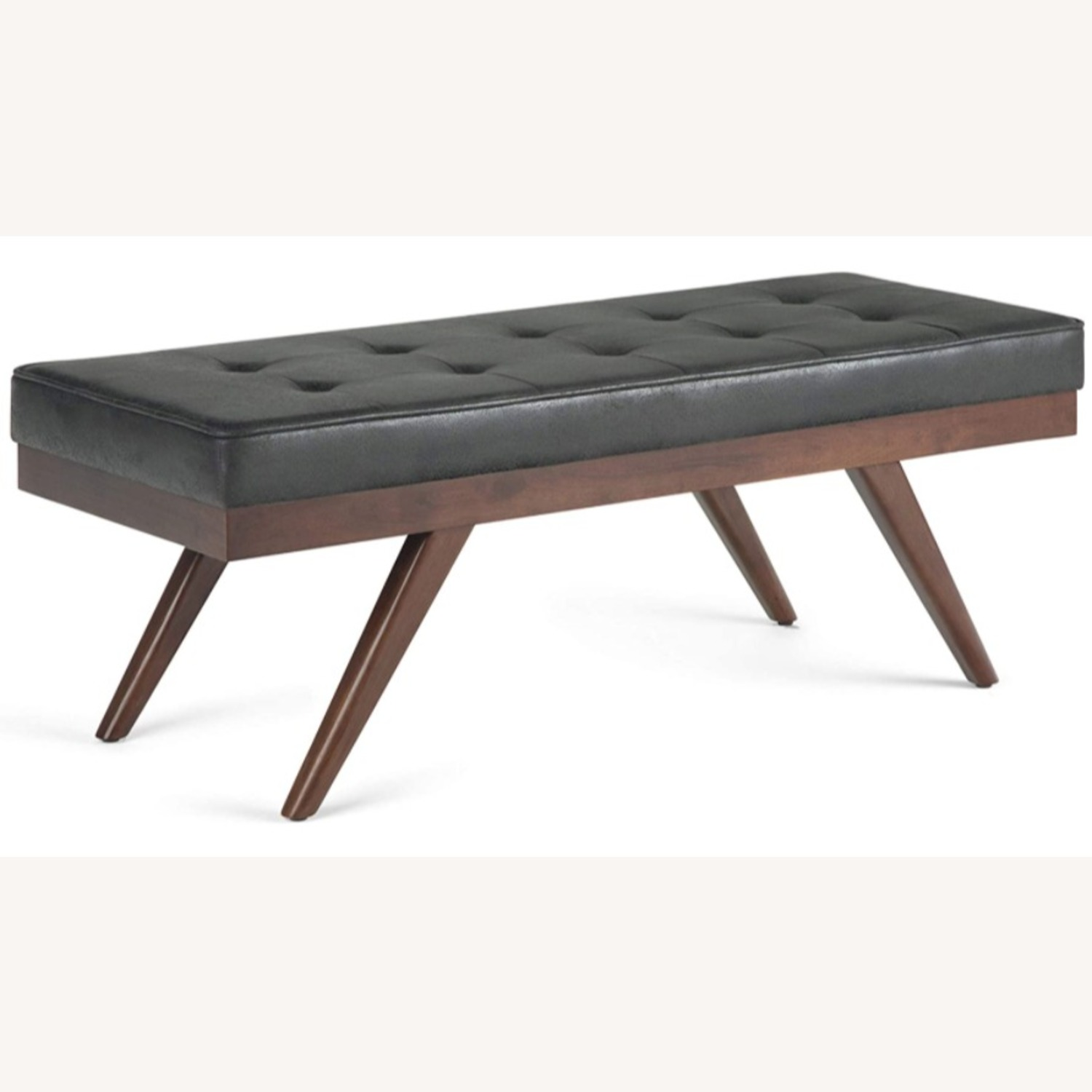 Mid Century Modern Faux Leather Ottoman Bench - image-1