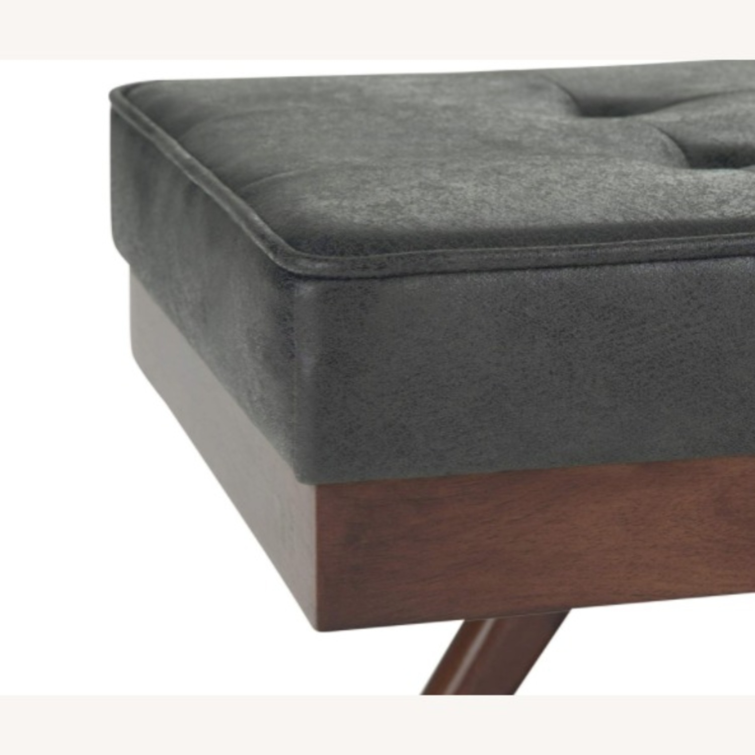 Mid Century Modern Faux Leather Ottoman Bench - image-2