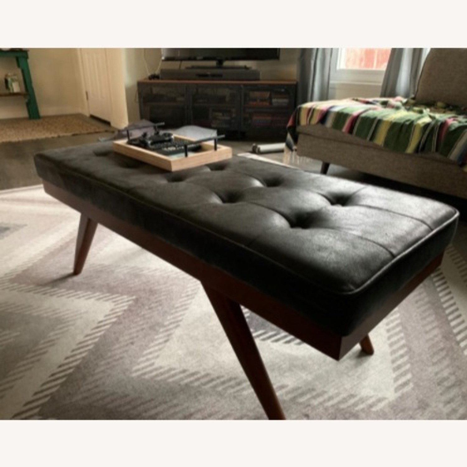 Mid Century Modern Faux Leather Ottoman Bench - image-3