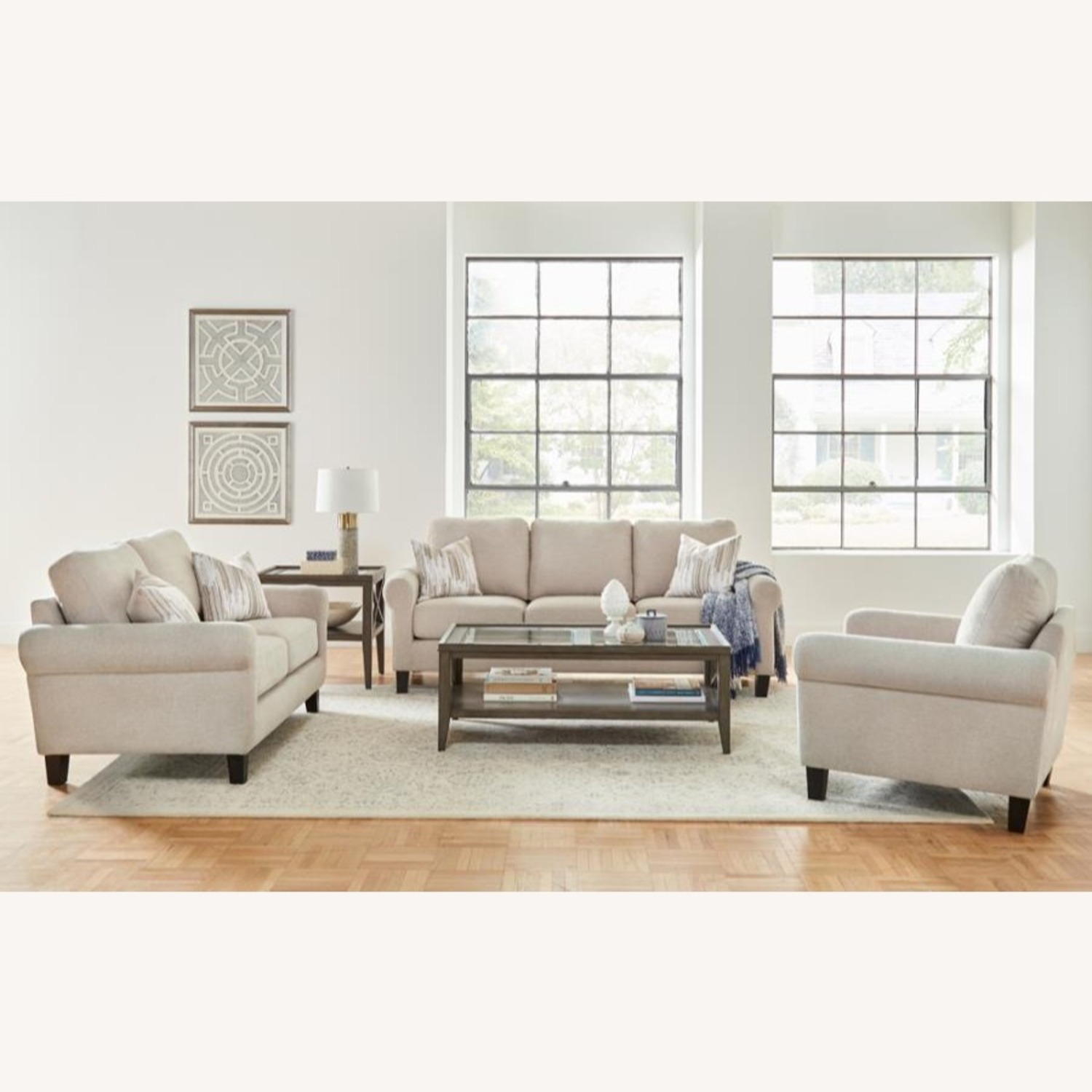 Loveseat In Oatmeal Chenille Upholstery - image-2