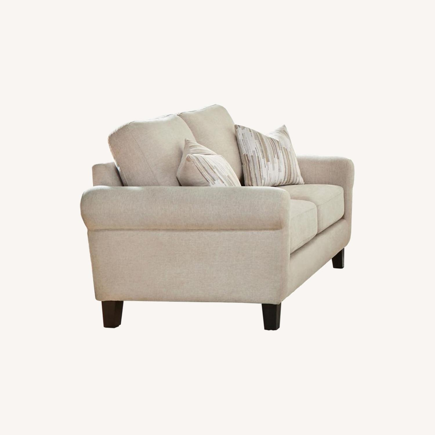 Loveseat In Oatmeal Chenille Upholstery - image-4