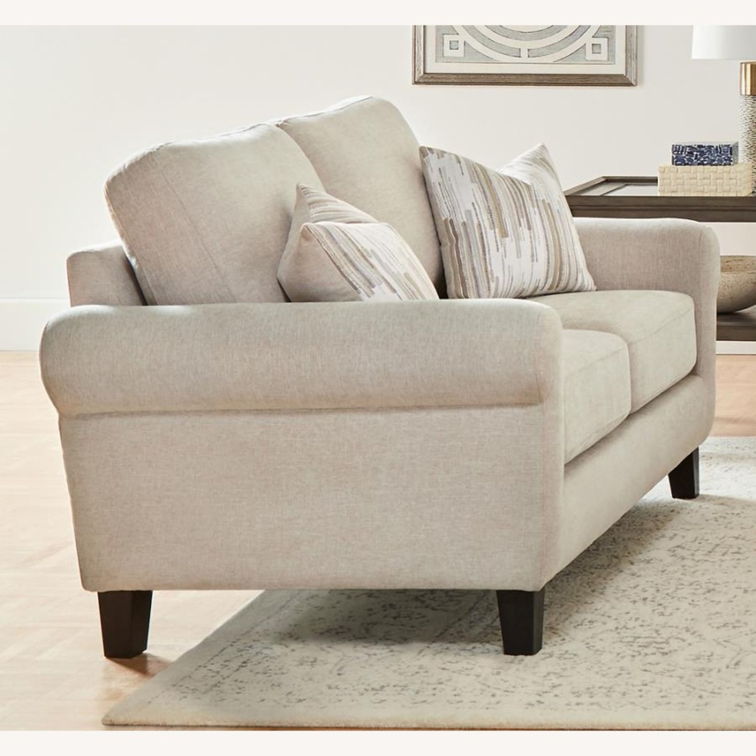 Loveseat In Oatmeal Chenille Upholstery - image-1