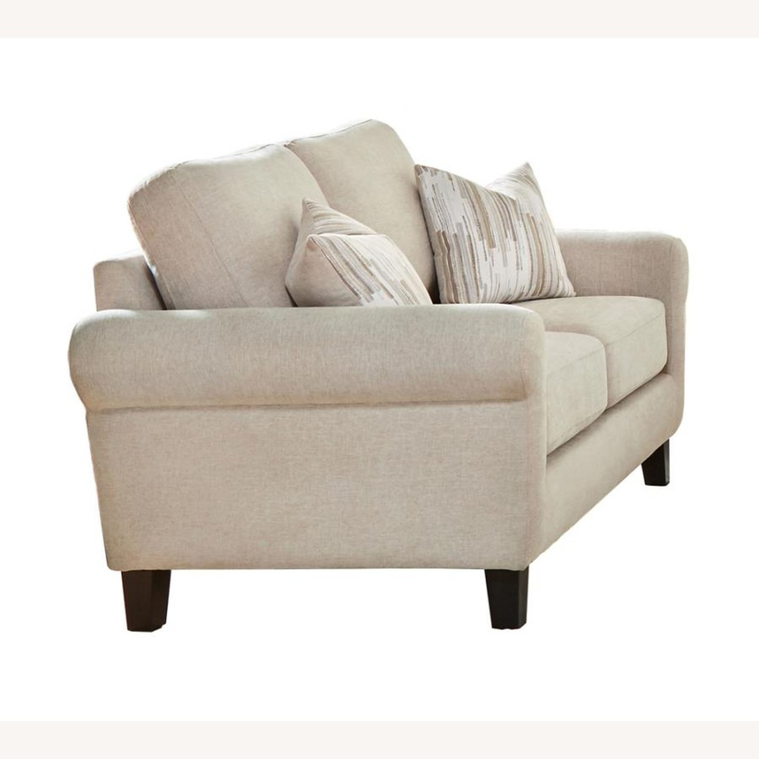 Loveseat In Oatmeal Chenille Upholstery - image-0